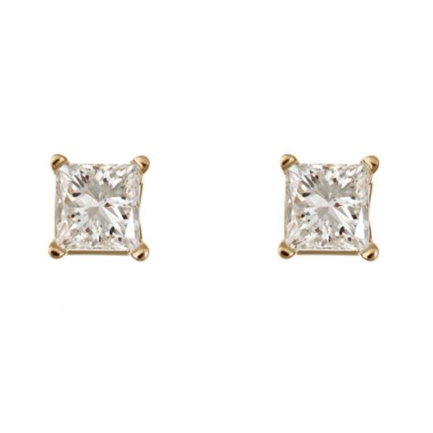0.72 CT.T.W. Princess-Cut Diamond Stud Earrings in 14K Yellow Gold (I, I1)