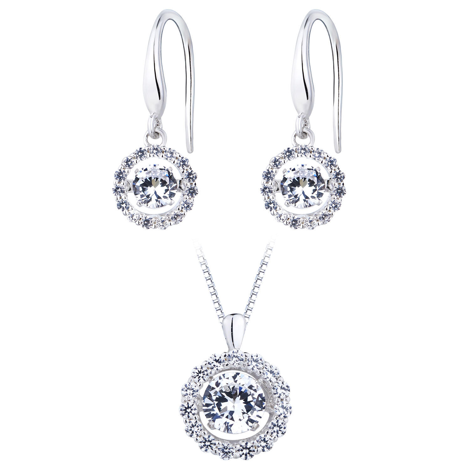 Sterling Silver Dancing Lab Created White Sapphire Set