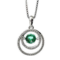 Emerald Dancing Gem Pendant with Diamonds