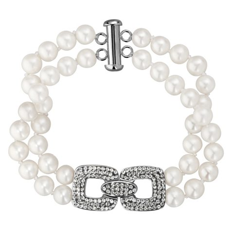 6mm Freshwater Pearl Bracelet with White Crystal Link Element in Sterling Silver