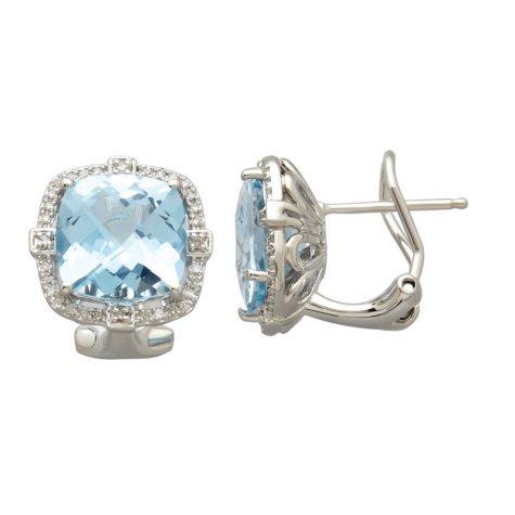 10mm Sky Blue Topaz Earrings with 019 CT. T.W. Diamonds in Sterling Silver
