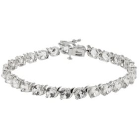 Sterling Silver Lab-Created White Sapphire Bracelet (IGI Appraisal Value: $250)