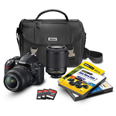 Nikon D3100 14.2MP DSLR Camera Bundle with 18-55mm VR Lens, 55-200mm VR Lens, DSLR Bag, and 3 16GB SDHC Card
