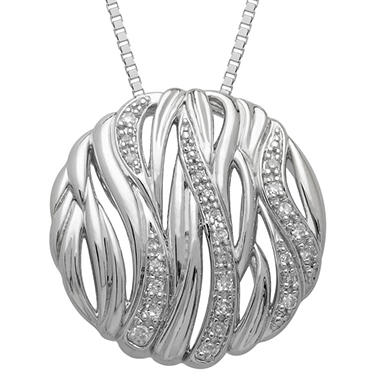 Textured Bark Pendant with Diamond Accent in Sterling Silver (H-I, I1)