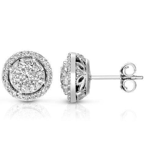 0.71 CT. T.W. Diamond Unity Earrings Set in 14K White Gold  (I, I1)