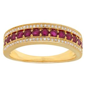 Ruby and Diamond Accent Ring in 14K Yellow Gold