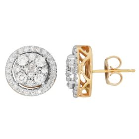 0.67 CT. T.W. Princess and Round Diamond Earrings in 14K Yellow Gold (H-I, I1)