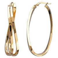 14K Italian Gold Double Curve Hoop Earrings
