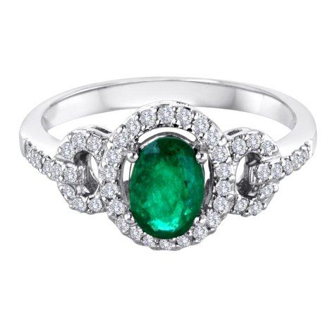 14K White Gold Emerald and Diamond Ring.(I, I1)