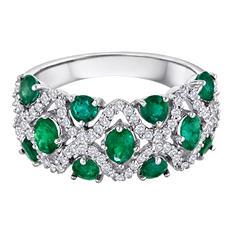 Emerald and Diamond 14K White Gold Ring (I, I1)