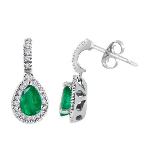 Pear-shaped Emerald and Diamond Earrings set in 14K White Gold (I, I1)