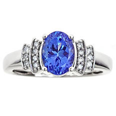 Oval Cut Tanzanite and Diamond Ring in 14K White Gold (IGI Appraisal Value: $950)