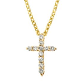 .25 CT. T.W. Diamond Cross Pendant in 14k Gold (H-I, I1)