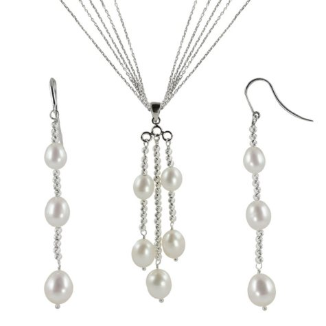 """18"""" Sterling Silver Freshwater Pearl and Sparkle Bead Pendant & Earring Set"""
