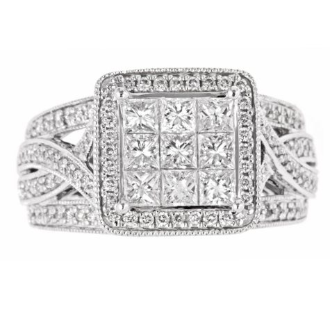 1.50 ct. t.w. Princess & Round Diamond Ring in 14K White Gold (H-I, I1)