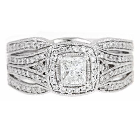 Regal 1.0 ct. t.w. Princess Center Diamond 14K White Gold Ring (I, SI2)