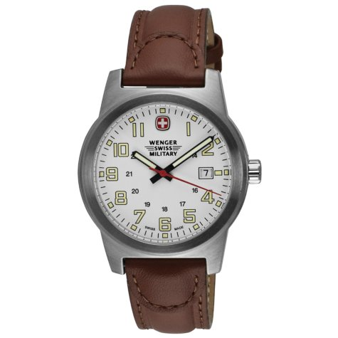 Wenger Swiss Military Classic Field Watch with White Dial and Brown Strap