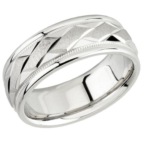 14K White Gold Comfort Fit Duo Band - 7mm