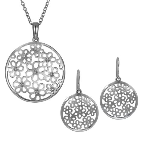 0.09 CT. T.W. Diamond Accent Flower Dome Pendant and Earring Set in Sterling Silver