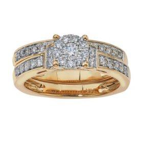 0.61 CT. T.W. Diamond Wedding Ring Set in 14K Yellow Gold