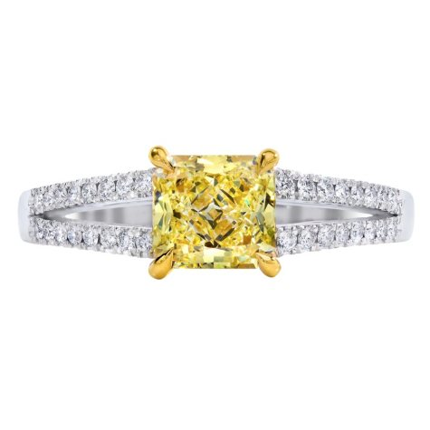1.26 CT. T.W. Radiant-cut Fancy Light Yellow Melee Split Shank Diamond Ring in 18K White Gold (FLY, VS1)