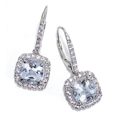 White Topaz and White Sapphire Earrings in 14k White Gold