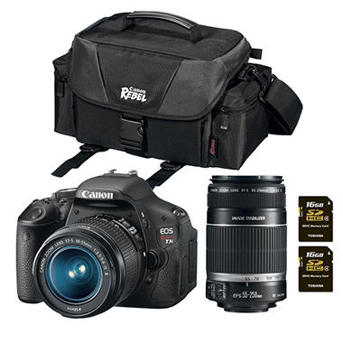 Canon T3i 18.0MP DSLR Camera Bundle with 18-55mm IS Lens, 55-250mm IS Lens, DSLR Bag, and Two 16GB SDHC Cards