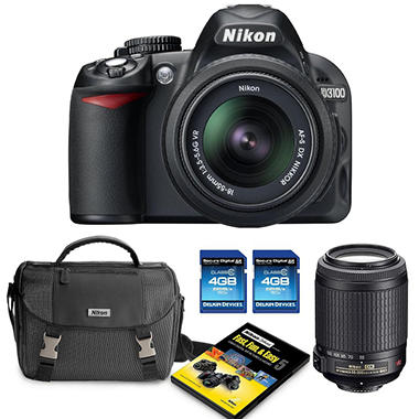 Nikon D3100 14.2MP DSLR Camera Bundle with 18-55mm VR Lens, 55-200mm VR Lens, DSLR Bag, and Two 4GB SDHC Cards