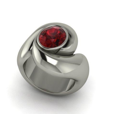 Garnet Whisper Ring in Sterling Silver