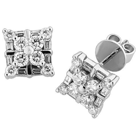 .95 ct. t.w. Round & Baguette Diamond Earrings
