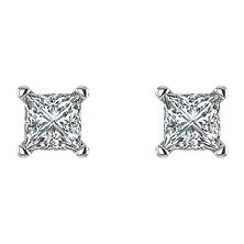 0.47 CT. T.W. Princess Diamond Studs in 14K White Gold (I, I1)