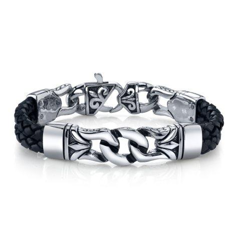 Spartan Links Black Leather Bracelet