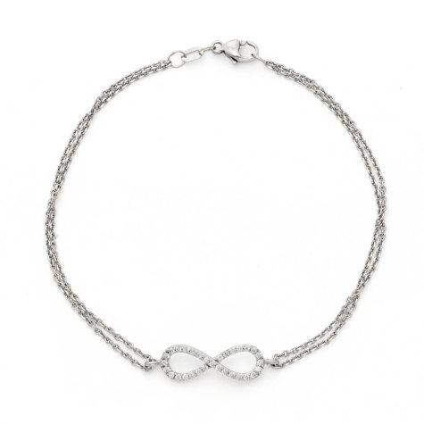 0.15 CT. T.W. Diamond Infinity Bracelet in 14K White Gold