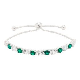 Lab Emerald and Lab White Sapphire Bracelet in Sterling Silver
