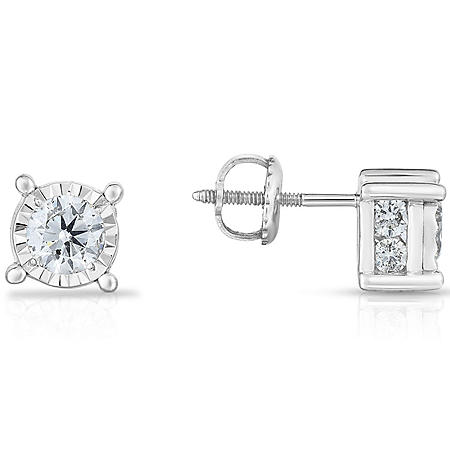 1.45 CT. T.W. Round Stud Diamond Earrings in 14k White Gold (HI-I1)