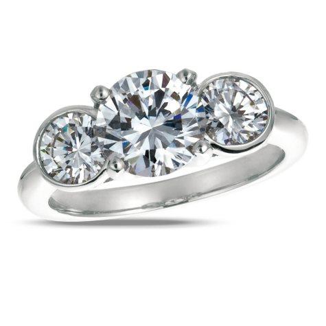 1.00 ct. t.w. Round-Cut Diamond 3-Stone Ring Platinum (I, VS2)
