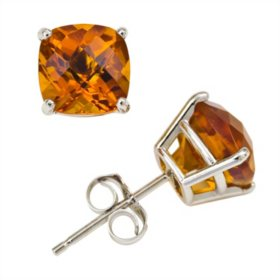 2.0 ct. t.w. Cushion Cut Citrine Stud Earrings in 14K White Gold