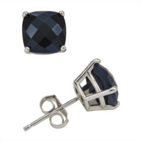 6mm Cushion Cut Onyx Stud Earrings in 14K White Gold