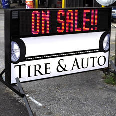 Outdoor Signs America Portable LED Sign with Double-Sided Electronic Message Center and Custom Graphic Faces