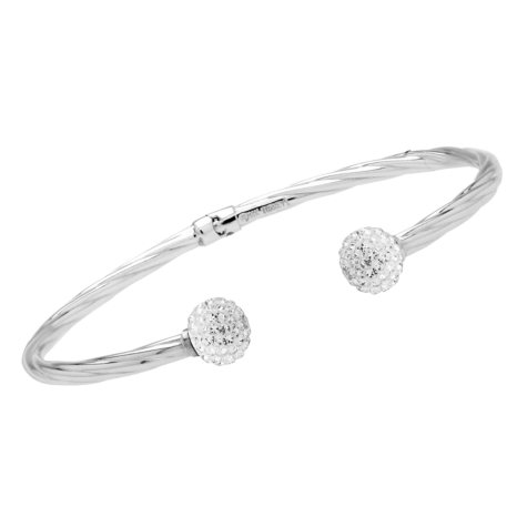 Love, Earth Genuine Swarovski Crystal Ball-Ended Hinged Bangle in Sterling Silver and 14k White Gold