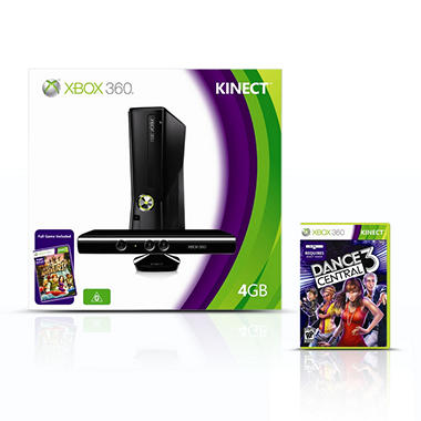 Xbox 360 4GB Console w/ Kinect Sensor, Kinect Adventures, & 1 Extra Game