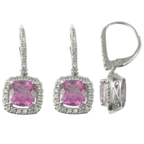 Mystic Pink Topaz and Lab-Created White Sapphire Earrings in 14k White Gold