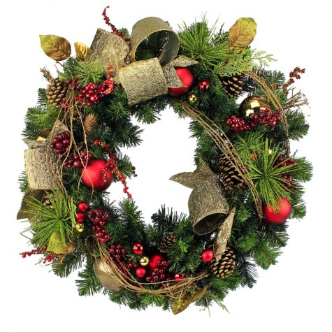 """Hand-Crafted Decorated 30"""" Pine Wreath - Choose Your Style"""