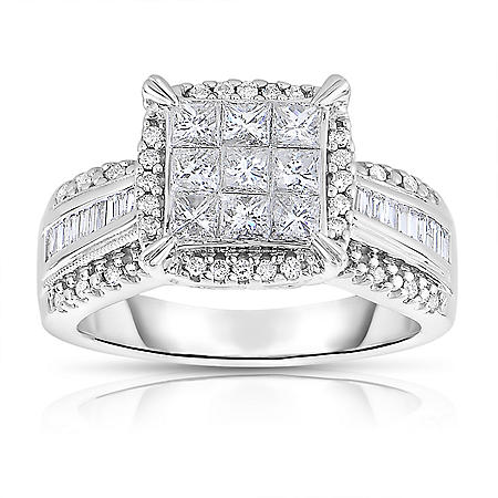 0.95 CT. T.W. Diamond Engagement Ring in 14K White Gold (I-I1)