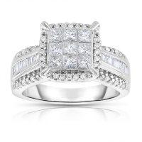 0.95 CT. T.W. Diamond Engagement Ring in 14K White Gold (I-I1)