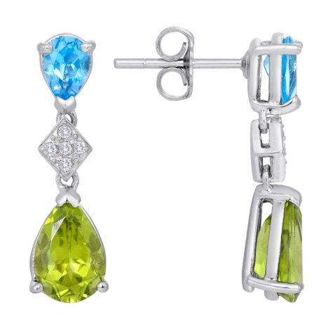 Peridot with Blue Topaz and Diamond Dangle Earrings in 14K White Gold