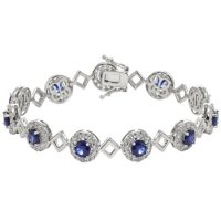 Created Blue and White Sapphire Bracelet in Sterling Silver