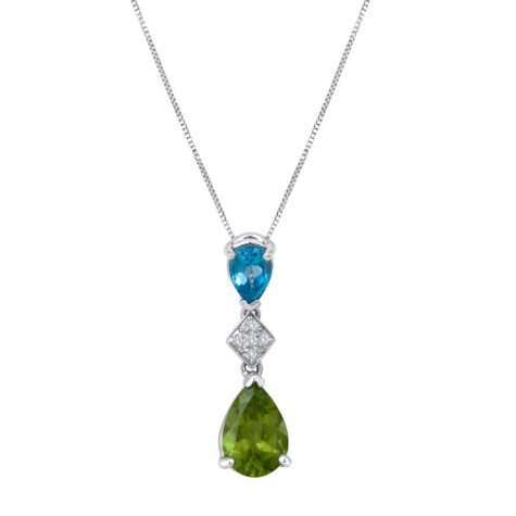 Peridot and Blue Topaz Pendant Necklace with Diamond Accents in 14K White Gold