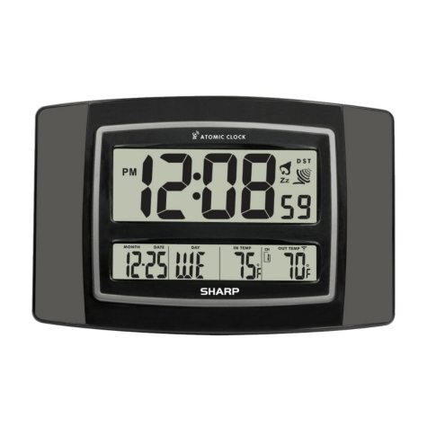 Sharp Digital Atomic Wall Clock - Gun Metal Gray