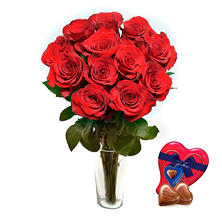 Je T'aime Long Stem Red Roses with Red Heart Jewelry